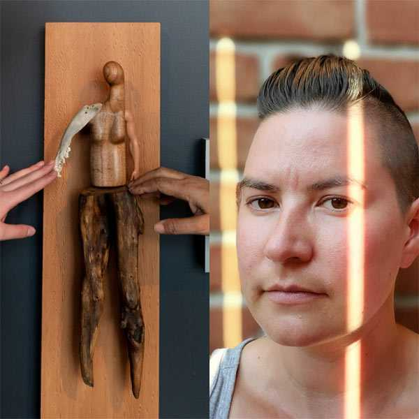 A photo of a wooden sculpture with two hands touching it, and a portrait of Vanessa Dion Fletcher
