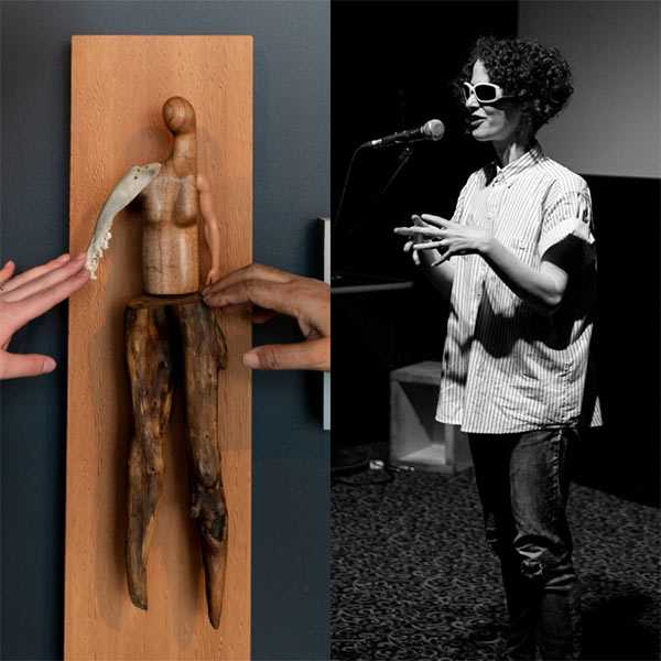 A photo of a wooden sculpture with two hands touching it, and a photo of Aislinn Thomas giving a talk