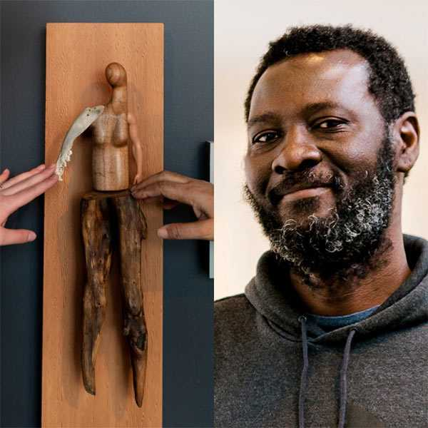 A photo of a wooden sculpture with two hands touching it, and a portrait of Peter Owusu-Ansah