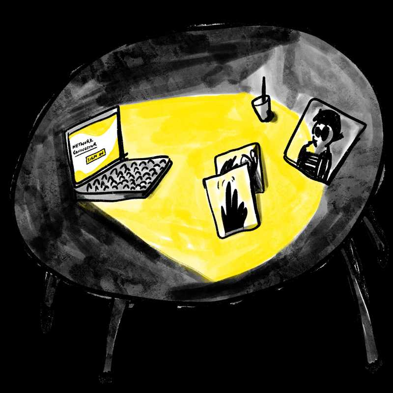 Illustration of a laptop on a tabletop, illuminating the surface in yellow light