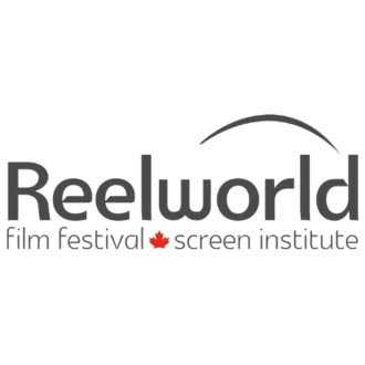 The Reelworld logo in grey and red on white